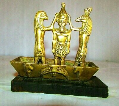 "ِAntique Pharaonic Boat Of King Ramses & The God ""Thoth"" Made Of Wood & Copper"