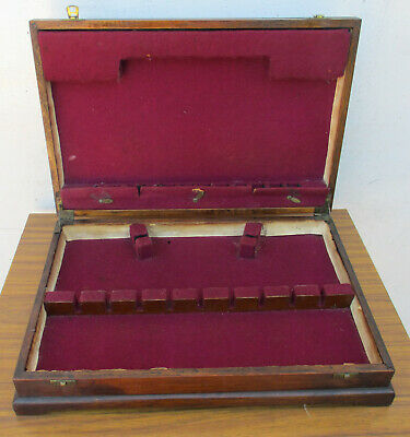 Good Size, Antique, Wooden Cutlery Box.  Velvet Lining. Lift Up Lid. Good Cond.