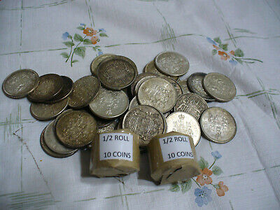 Lot Of 10  Pre 1967  Canada Silver Coins 50 Cents Half Dollars 1/2 Roll  Junk