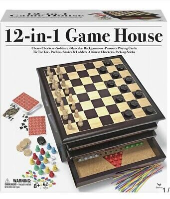 12 in 1 Wooden Chess Board Games Slide Out Best Checkers House Unit Set - Brown