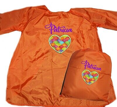 Kids Personalised Art Smock and Library Bag Set -Applique Heart -First name FREE