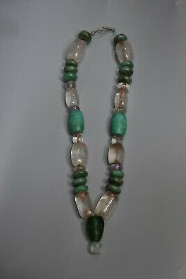 Precolumbian,Turquoise  shape disk and quartz Necklace ,Navajo, Moche,Chavin