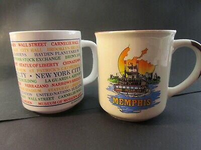 Bright Pair Of New  Coffee Mugs From The Usa