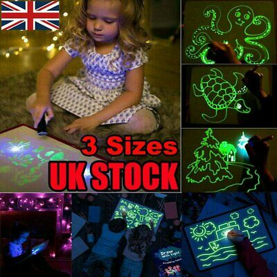 Light Up Drawing Fluorescent Magic Writing Board Kit Kids Fun&Developing Toy Set