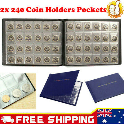 2x 240 Holders Pockets Collection Book Coin Collecting Money Penny Storage Album