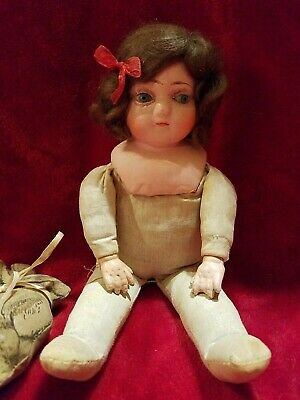 Antique Early Old Vintage PRIMITIVE COMPOSITION/CLOTH DOLL Glass Eyes ~