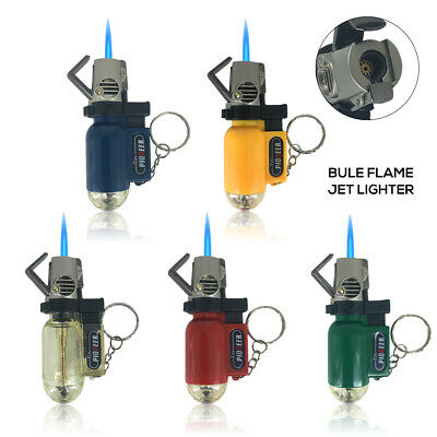 Rechargeable Mini Gas Lighter Metal Jet Butane BBQ Torch Lighter With Keychain