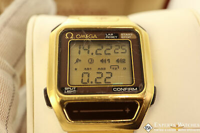 1984 Omega SeaMaster Chronograph SensorQuartz Box Papers Gold Digital LCD Watch