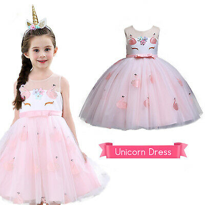 Kids Flower Girls Unicorn Dress Party Wedding Bridesmaid Birthday Outfit Gifts