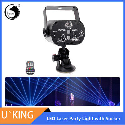 Mini Stage Light RGB LED Laser Built-in Battery USB Charge Sucker Lamp Car Party