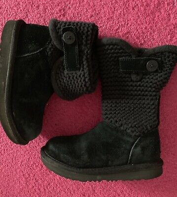 Genuine Girls UGG Boots, Size 12, Black - Excellent Condition