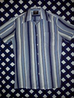Vintage 70s 80s Navy Stripe Printed Polyester Shirt Size M Chest Approx 100cm