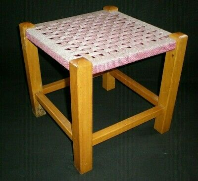 Vintage Small Woven Topped Footstool