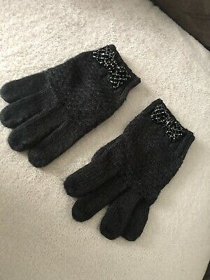 Black Ladies Gloves With Beads Decorative Bow From New Look One Size