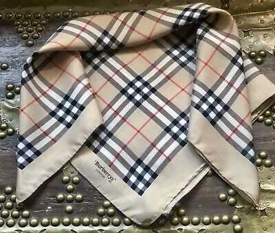 Smart Vintage BURBERRYS London Classic Prin Silk Neck Scarf/POCKET SQUARE