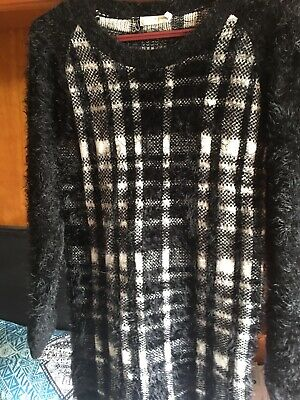 Girls Black And White Jumper Long Tammy BHS Size 14-15 Years Furry