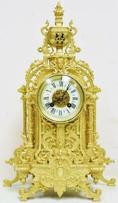 Impressive Antique French Ormolu Mantel Clock 8 Day Striking Pierced Bronze 1870