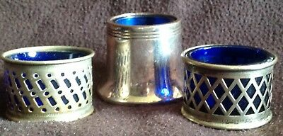 3 x vintage SALTS small silverplate EPNS blue glass liners pots A/F