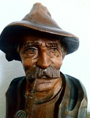 Black Forest Carving of Pipe smoking man in hat