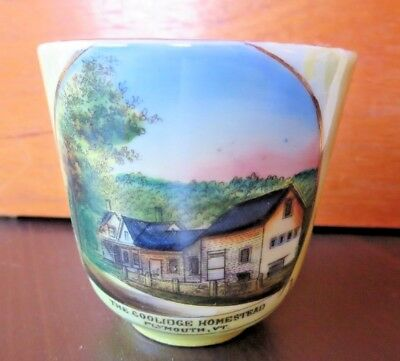 Plymouth VT Homestead President Calvin Coolidge Souvenir Cup Lusterware Vintage