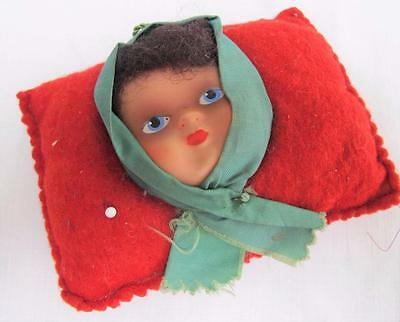 Doll Pin Cushion Vintage 1950s Red Felt Sewing Needlework Celluloid Doll Face