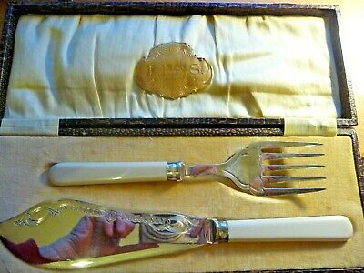 Antique Silver Plated EPNS Fish Knife and Fork Serving Set Boxed