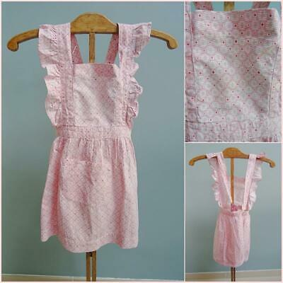 Vintage Pinafore Apron Pinny 1950s Young Girls Red Printed Cross Over Back