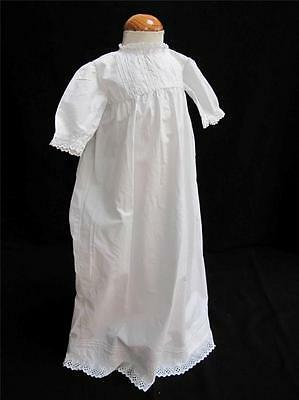 Antique Baby Dress Gown Victorian Whitework Embroidered Lace Cotton c1890