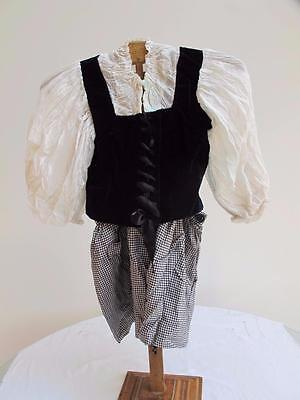 Vintage 1930s Fancy Dress Costume Young Girls Navy Blue White Milk Maid