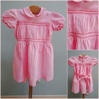 Vintage 1950s Dress Young Girls Pink Checked Fabric Smocking Smocked Collar