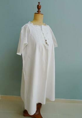 Antique Victorian Nightgown Ladies Romantic Night Dress Cotton Embroidered c1890