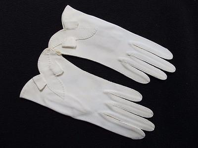 Vintage Gloves 1950s Unused Ladies Cream Fabric Hand Stitched