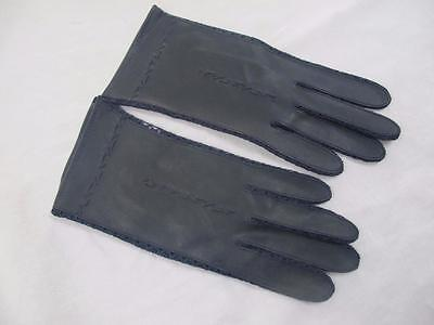 Vintage Ladies Gloves 1960s Navy Blue Faux Leather Mesh  Size 7.5