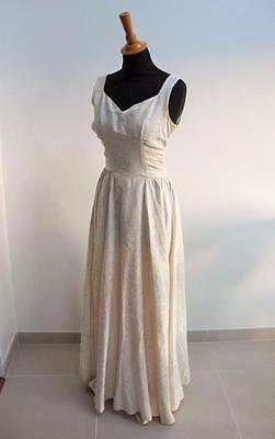 Vintage Wedding Dress 1940s Ivory Floral Brocade Fabric Bride Sleeveless Bridal