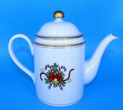 """Fitz & Floyd 1978 St Nicholas Coffee Teapot 8.5"""" Tall With Cover Lid"""