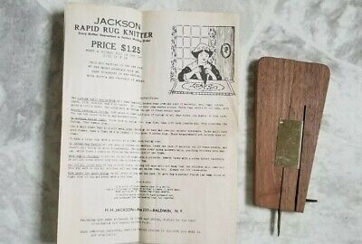 Vintage Jackson Rapid Rug Knitter Tool With Instructions-Free Shipping