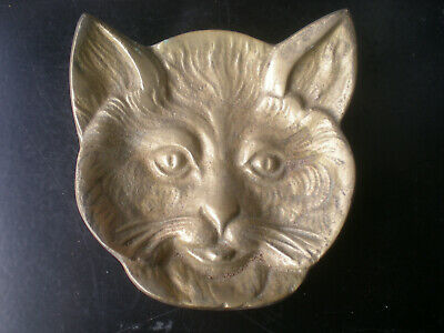 Vintage Antique Cat Face Brass Pin Or Trinket Tray