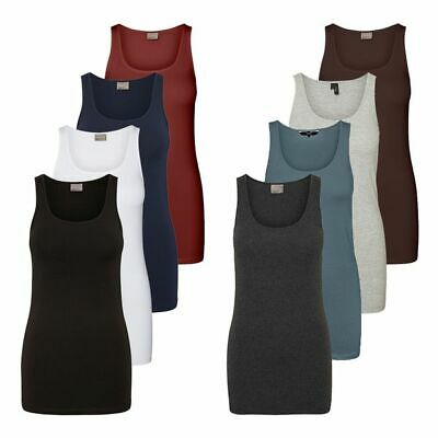 Vero Moda Damen Tank Top Lang Shirt Stretch Basic Longtop Damenshirt Ärmellos