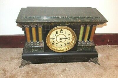 Antique Seth Thomas Green Adamantine 6 Pillar Mantel Mantle Clock Shelf