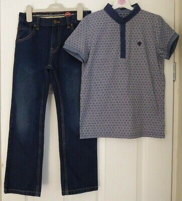 STUNNING POLO TOP by NEXT + DENIM JEANS by BLUE ZOO FOR A BOY, AGE 8 YEARS