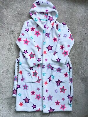Marks & Spencer Girl's Dressing Gown, Age 9-10yrs, White With Stars