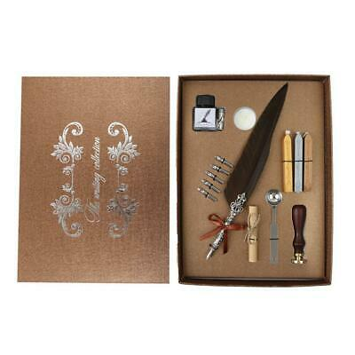 Retro Calligraphy Fountain Pens Set Feather Dip Writing Ink Pen Stationery