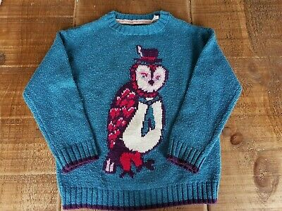 Fat Face Owl Winter Turquoise Green Jumper Age 4-5 - Worn Once