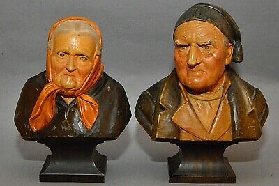 Pair of Swiss Brienz Hand Carved Wood Peasant Folk Busts - Old Man & Woman