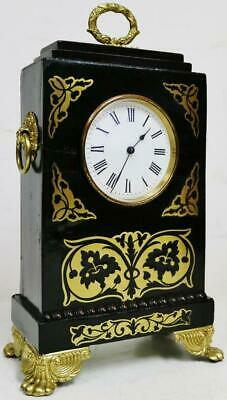 Antique French 8 Day Ebonised & Boulle Carriage/Mantle Clock Platform Escapement