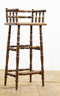 Antique 19th Century Victorian Unusual Turned Oak High Chair / Stool