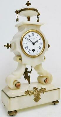 Antique French 8 Day Farcot Swinging Lady Marble Ornate Portico Mantel Clock
