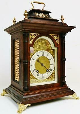 Antique Lenzkirch Carved Oak Architectural 8 Day Gong Striking Bracket Clock