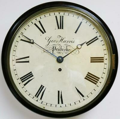 Antique Welsh 8 Day Single Fusee Ebonised Dial Wall Clock Station Kitchen Clock