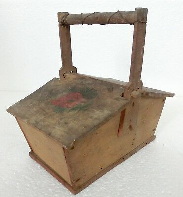 Antique 19thC Old painted Hand made Wooden Box w/ two Covers on the top ♡ lovely